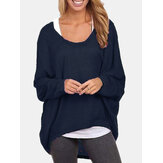 Womens Bat Sleeve Round Neck Loose Solid Color Pullover Plus Size Casual Shirt T-shirt