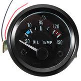 कार मोटरसाइकिल के लिए 2 इंच 52 मिमी 12V यूनिवर्सल 50-150 डिग्री सेल्सियस तेल तापमान तापमान गेज मीटर