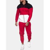 Veste à capuche patchwork tricolore pour homme avec cordon de serrage Pantalon de jogging Sport Ensemble de deux pièces
