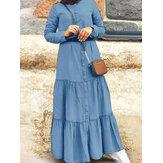 Vestido feminino retrô de cor sólida plissada com botões em gola casual maxi