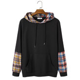 Mens Black Patchwork Colorful Plaid Kangaroo Pocket Coulisse Felpe con cappuccio