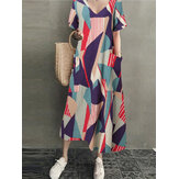 Cotton Geometric Contrast Color Print Holiday Maxi Dress with Side Pockets