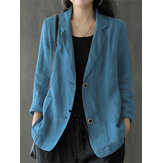 Women 100% Cotton Solid Color Button Front Business Thin All-Match Blazer With Pocket