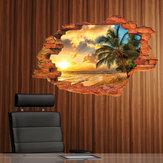 Miico Yaratıcı 3D Ada Deniz Günbatımı Hindistan Cevizi Palm Çıkarılabilir Ev Odası Dekoratif Duvar Dekor Sticker