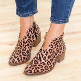 Leopard Grain Chunky Heel Zipper Ankle Short Boots