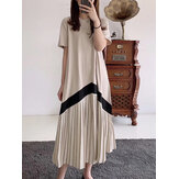 Women Contrasting Colors Short Sleeve Casual Pleated Maxi Dresses