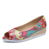 LOSTISY Espadrillas da donna Comfy Wedge Peep Toe Slip On Platforms