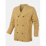 Cardigans simples tricotés à manches longues à double boutonnage de couleur unie pour hommes