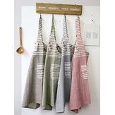 Vestido de aventais de cozinha Patchwork de algodão listrado japonês