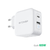 [GaN Tech] BlitzWolf® BW-S18 65W 2-poorts USB-C PD-wandoplader PD3.0 Ondersteuning voor stroomtoevoer QC3.0 SCP FCP-protocollen Mini-adapter met EU-stekker UK-stekker Amerikaanse stekker voor iPhone 11 voor Samsung Galaxy Note 20 Ultra Huawei MacBook