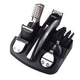 Kemei KM-600 6 en 1 Eléctrico Cabello Cortadora de afeitadora recortadora de barba Cabello Recortadora Oreja Limpieza facial y de nariz herramientas