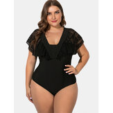 Black Plus Size Lace Sling Deep Necklines Swimwear