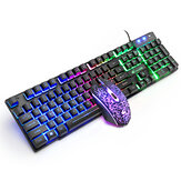 Free Wolf T11 Wired Mechanical Keyboard Game Mouse Rainbow RGB Backlight Keypad for Computer PC Laptop