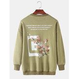 Mens Design Slogan & Floral Back Print Rundhals-Pullover Langarm-Sweatshirts