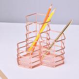 Gül Altın Altıgen Kalem Tutucu Kombinasyonu Metal Çok Fonksiyonlu Ofis Masası Depolama Kalem Tutucu Ev Kırtasiye Malzemeleri