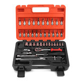 46Pcs 1/4 Inch Wrench Repair Tools Metric Socket Wrench Screw Kit