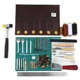 69PCS Leather Craft Tools Punch Kit Stitching Carving Working Sewing Groover