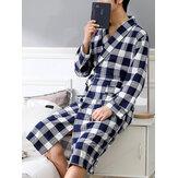 メンズチェック柄プリント長袖快適なパジャマバスローブホームローブポケット付き
