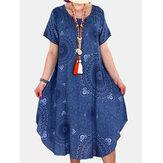 Aşiret Baskı Yuvarlak Boyun Kısa Kol Vintage Elbiseler