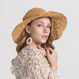 Mujer Color sólido Tapa de borde grande Sombra de viaje Sombra de paja Sombrero