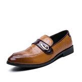 Ανδρικά Ρετρό Μεταλλικό Συνδυασμό Δερμάτινο Άνετο Slip On Business Casual Απαλό Παπούτσια