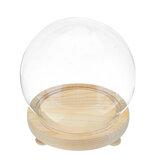 Vetro trasparente decorativo rotondo Dome con base in legno Cloche Bell Vaso