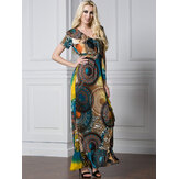 Bohemian Women Ruffle V-Neck Printed Dress