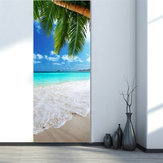 3D Beach Door Sticker Fridge Decals Mural Home Wall Decorations
