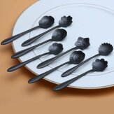 KCASA KC-FS01 Black Stainless Steel Flower Shape Coffee Sugar Spoon Tea Spoon Ice Cream Tableware