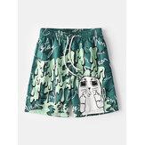 Мужские забавные сетчатые вкладыши с принтом в виде граффити Quick Dry Holiday Повседневные шорты для досок