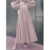 Women Vintage Print Puff Sleeve Tiered Swing Kaftan Maxi Dresses