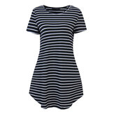 Mode Femme Stripe manches courtes T-shirt robe