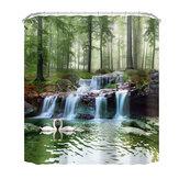 Cenário de cachoeira 3D Cortina de chuveiro à prova d'água Tapetes de banho antiderrapantes Tapetes de pedestal Banheiro Conjunto de decoração