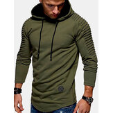 Mens Simple Solid Color Sleeve Texture Long Sleeve Drawstring Hoodies