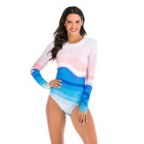 Women Gradient Print Zipper Long Sleeve Sports Surfing Suit Swimwear