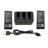 Cargador USB 3-en-1 Balance con 2PCS 3.8V 1100mah Litio Batería para DJI Ryze Tello RC Drone