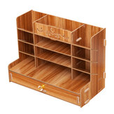 Wooden Storage Box File Holder Office Pen Book Desktop Organizer Storage Box with Drawer Stationary Container