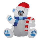 1.2M LED Insuflável de poliéster à prova d'água de Natal com soprador resistente a UV Brinquedo de urso inflável para presente de festa de decoração de Natal