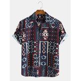 الرجال نمط العرقية نمط الطباعة قمصان قصيرة الأكمام عارضة