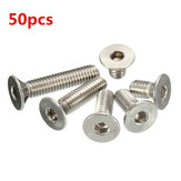 Suleve™ M4SH2 50pcs Metric M4 Stainless Steel Countersunk Flat Head Hex Socket Cap Screw Bolts