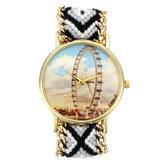 Kundenspezifische Volksart Damen Uhr Riesenrad-Legierungs-Fall strickte Gewebe-Bügel-beiläufige Retro- Quarz-Armbanduhr