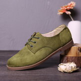 LOSTISY Suede Lace Up Solid Color Casual Formal Flat Shoes