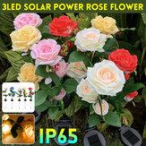 Esterno LED solare Prato da giardino impermeabile con luce a fiori di rose lampada Illuminazione da giardino Decorazione da giardino