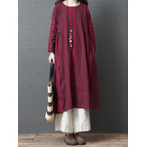 Women Vintage Cotton Linen Stripe Long Sleeve Dress
