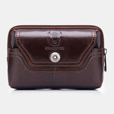 Bullcaptain Vera Pelle Vinatge Waist Borsa Phone Borsa For Men