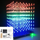 Upgraded Version DIY WIFI APP 8x8x8 3D Light Cube Kit Red Blue Green LED MP3 Music Spectrum Electronic Kit With 3W Amplifier+3W Speaker