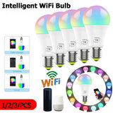1/2/3Pcs 7W E27 WiFi Smart Light Bulb Dimmable APP Voice Control LED Lighting Bulb Smartphone Control Multicolor Changing Lights Bulbs Home Decor