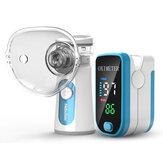 Oxímetro de pulso de dedo 2 em 1 Handheld USB Inhale Mesh Nebulizador Umidificador de Atomizador Ultrasônico Conjunto Doméstico de Cuidados de Saúde para Homens Mulheres Idosos