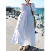 Women 100% Cotton Puff Sleeve Square Neck Maxi Dresses With Side Pocket