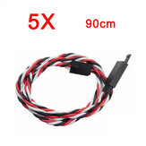 5X Amass 60 Core 90cm Anti-Off Servo Extension Fio Cabo Para Futaba